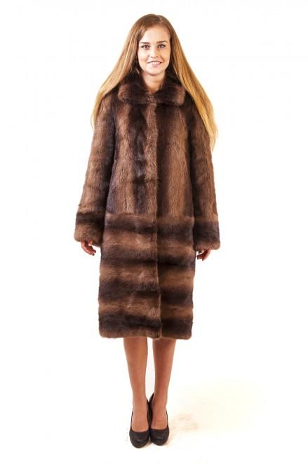 Пальто из меха норки комбинированной с кожей (модель 967)