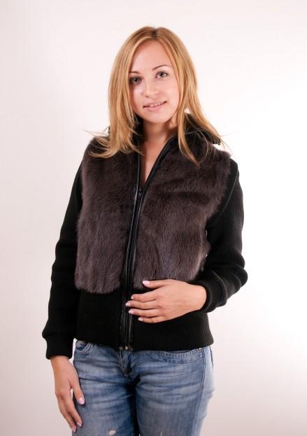 """Куртка из меха норки комбинированной с трикотажем (модель 702 """"Трасформер"""")"""