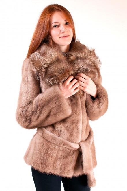Куртка из меха норки с отделкой из лисы (модель 713)