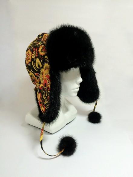 Шапка-ушанка комб. с норкой (модель 1)