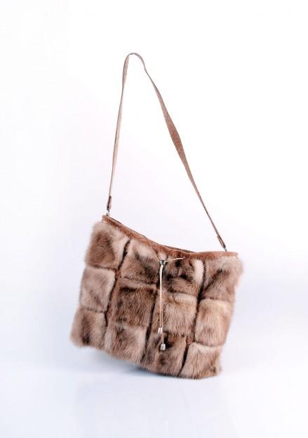 Сумка из меха норки комбинированная с кожей (модель 152)
