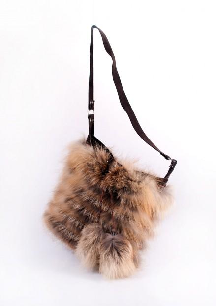Сумка из меха лисы комбинированная с кожей (модель 150А)