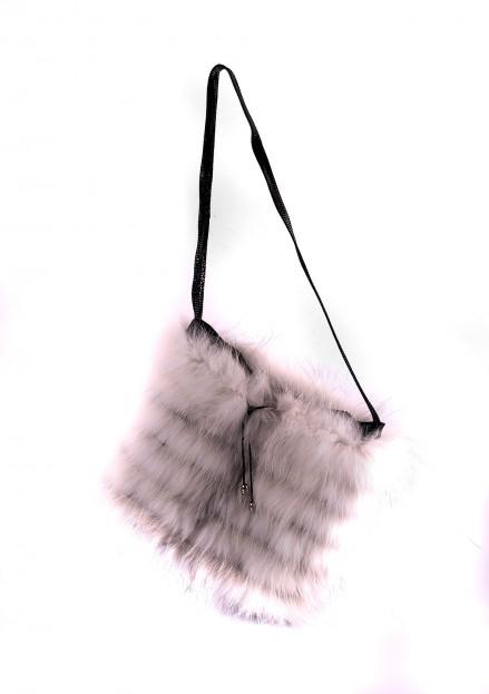 Сумка из меха лисы комбинированная с кожей (модель 150)