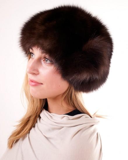 Шляпа-берет цельно-меховая из меха соболя (модель 240)