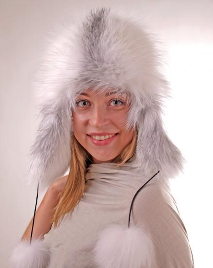 Шляпа комбинированная из меха лисы с кожей (модель 284)