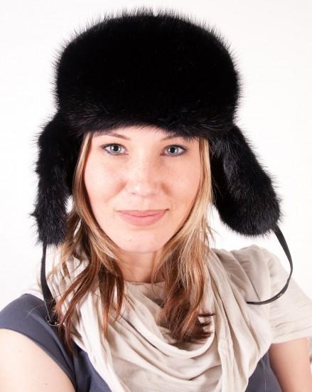 Шляпа комбинированная из меха норки с кожей (модель 270)