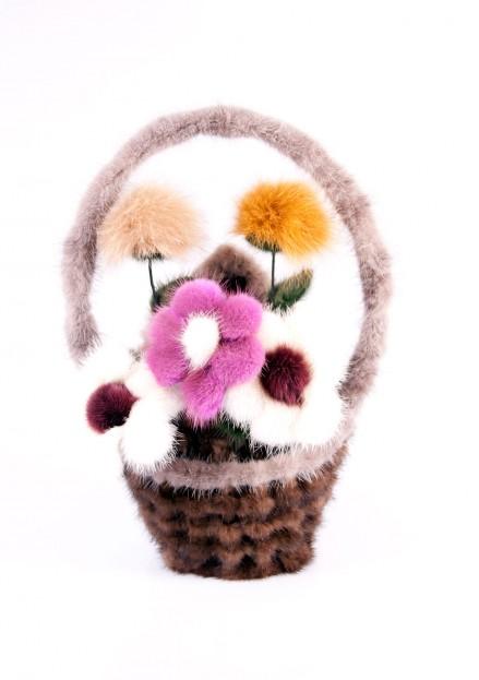 Корзина с цветами из меха норки малая