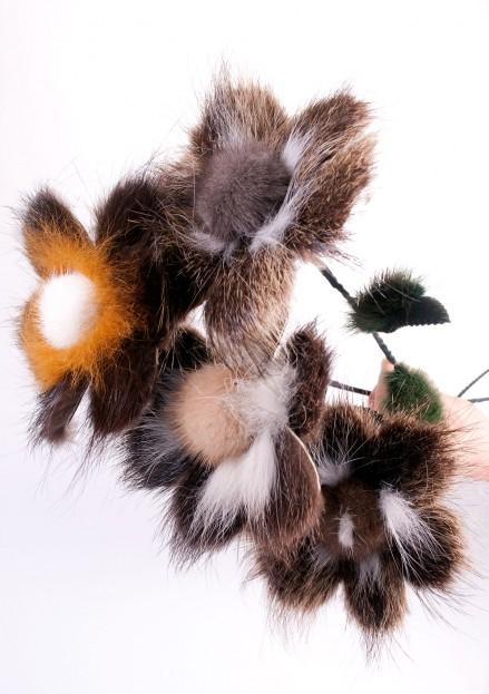 Цветок из меха нутрии большой