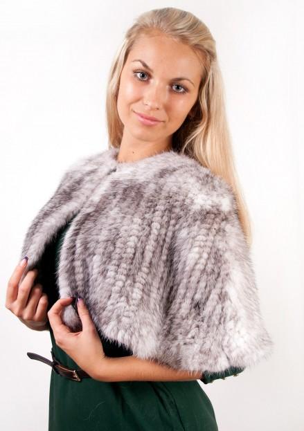 Пелерина из меха норки плетеная на сетке (модель 957)